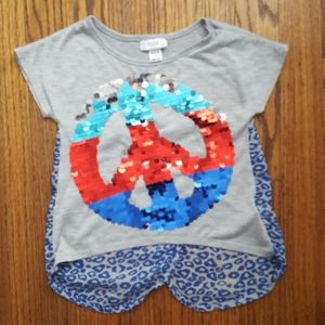 5/$20 Piper Sequined Peace Tee Split Back XS 4 5